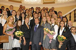 Russia at the 2008 Summer Olympics - Russian President Dmitry Medvedev with Russian medallists in the Kremlin in September 2008.
