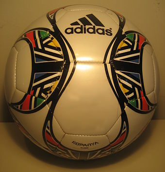 A replica of The Adidas Kopanya (the official match ball of the 2009 FIFA Confederations Cup) with the traditional 32-panel structure. The official match ball has the same structure and surface as the Adidas Europass. 2009 FIFA Confederations Cup ball by adidas.JPG