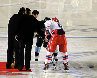 Alexander Ovechkin - Franco Harris, Jerome Bettis and Mario Lemieux joined U.S. Army Sergeant First Class Bradley T. Tinstman for the ceremonial puck drop at the 2011 NHL Winter Classic. Ovechkin took the draw against Sidney Crosby of the Pittsburgh Penguins.