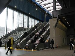2014 at Reading station - escalators to south exit.JPG
