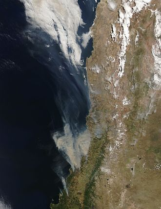 2017 in Chile - Satellite image of the 2017 Chile wildfires, on 25 January