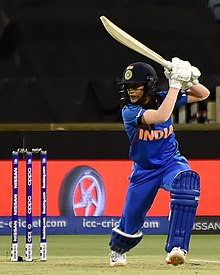 Rodrigues batting for India during the 2020 ICC Women's T20 World Cup