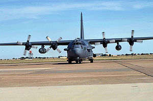 27th Special Operations Group - One of two 16th Special Operations Squadron AC-130H Spectre gunships taxis onto the flightline at Cannon AFB, NM