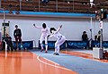 2nd Leonidas Pirgos Fencing Tournament. Double touch for Nikoletta Chatzisarantou and Irini Mavrikiou.jpg