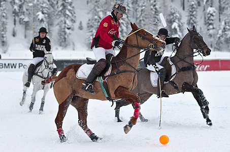 A Cartier player during the Cartier vs Ralph Lauren match during the 30th St. Moritz Polo World Cup on snow on the 02/02/2014