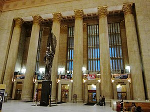 Pennsylvania Railroad World War II Memorial - Image: 30th Street Station main (east) entrance with Angel of the Resurection
