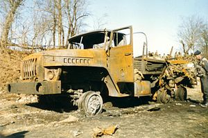 2000 Zhani-Vedeno ambush - Destroyed Ural-4320 lorry truck