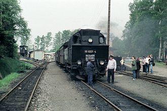 Selke Valley Railway - Locomotive 99 6001 in Hasselfelde before running from Stieg to Straßberg on 3 June 1984