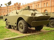 9P148 vehicle with 9M111, 9M111M, 9M113 missiles of anti-tank complex «Konkurs» in Military-historical Museum of Artillery, Engineer and Signal Corps in Saint-Petersburg, Russia.jpg