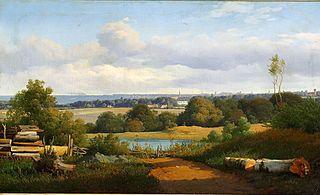 View at Ermelunden overlooking the Gentofte Church, Bernstorff Palace and Copenhagen
