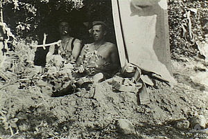 14th Battalion (Australia) - 14th Battalion soldiers occupy dug outs at Gallipoli