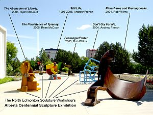 North Edmonton Sculpture Workshop - The sculptures on display at the Alberta Centennial Sculpture Exhibition at the Royal Alberta Museum in 2005.