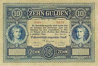 Paper money of the Austro-Hungarian gulden - Image: AHG 10 1880 obverse
