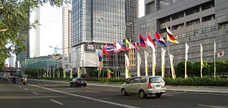 Indonesia–Japan relations - The Embassy of Japan (right) at Jl. Thamrin, Central Jakarta.