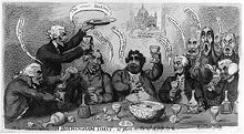"Several men are sitting around a table toasting, with glasses knocked over. Above the men hangs a picture of a cathedral with the phrase ""A Pigs Stye"" underneath it."