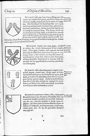 English heraldry - A Display of Heraldrie, early text on heraldry, published at London, 1611
