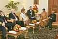 A Parliamentary delegation led by the Chairperson of the Council of Federation, Federal Assembly of the Russian Federation, Mrs. Valentina Matvienko called on the President, Shri Pranab Mukherjee, in New Delhi.jpg