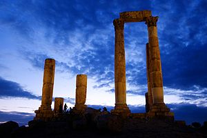 A Roman Temple Sunset View in Jabal Al-Qalaa' Amman