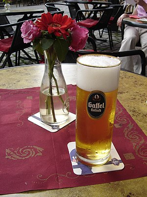 Kölsch (beer) - A glass of Kölsch in Aachen