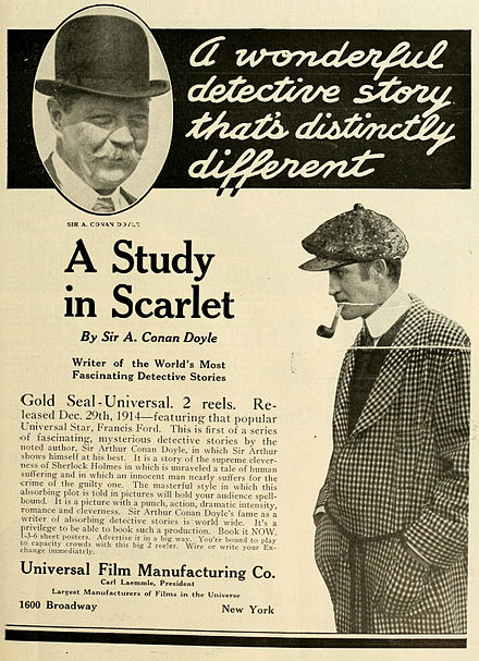 Advertisement for A Study in Scarlet, directed by and starring Francis Ford, 1914 A Study in Scarlet 1914.jpg