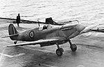 A Supermarine Seafire landing on board HMS ILLUSTRIOUS, February 1943. A20643.jpg