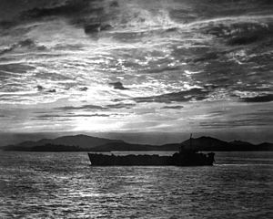 Battle of Inchon - A tank landing ship enters the harbor at Inchon before the landings.