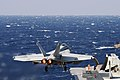 A U.S. Navy F-A-18E Super Hornet aircraft assigned to Strike Fighter Squadron (VFA) 31 takes off from the aircraft carrier USS George H.W. Bush (CVN 77) March 15, 2014, in the Mediterranean Sea 140315-N-CZ979-028.jpg