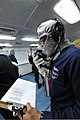 A U.S. Sailor responds to calls of simulated damage and medical emergencies during a general quarters drill aboard the aircraft carrier USS Theodore Roosevelt (CVN 71) Nov. 18, 2013, in the Atlantic Ocean 131118-N-SB233-173.jpg