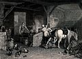 A blacksmith in his workshop with people looking on and a yo Wellcome V0039522.jpg