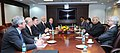 A delegation from France meeting the Union Minister for Civil Aviation, Shri Ashok Gajapathi Raju Pusapati, in New Delhi on January 25, 2016. The Secretary, Ministry of Civil Aviation, Shri R.N. Choubey is also seen.jpg