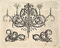 A fantastic chandelier with burning candles and arabesques, some ending in fantastic horse forms, plates from the Neue Grotessken Buch MET DP828572.jpg