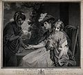 A fortune-teller is reading the palm of a woman with little Wellcome V0025933.jpg