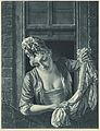 A laundry maid leaning out of a sash window to wring out a Wellcome L0051347.jpg