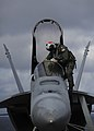 A sailor wipes down the windshield of an F A-18E Super Hornet. (8744190969).jpg
