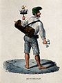 A water seller carries a canister of water with glasses and Wellcome V0039628.jpg