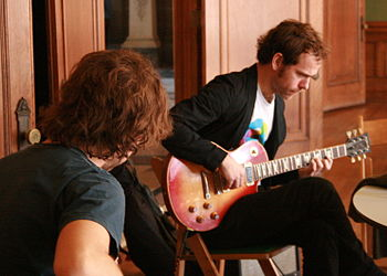 English: Aaron and Bryce Dessner rehearsing an...