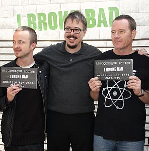 Aaron Paul, Vince Gilligan and Bryan Cranston ...