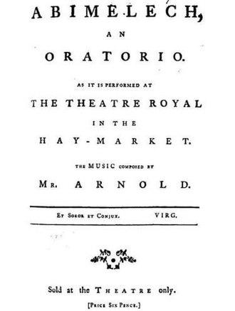 Abimelech (oratorio) - Title page of Abimelech libretto