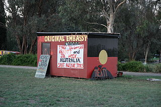 Aboriginal Tent Embassy Permanent protest occupation in Canberra representing the rights of Aboriginal Australians