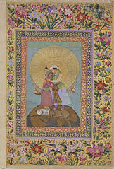 Allegorical representation of Emperor Jahangir and Shah Abbas of Persia from the St. Petersburg Album