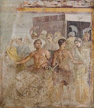 Briseis - Achilles' surrender of Briseis to Agamemnon, from the House of the Tragic Poet in Pompeii, fresco, 1st century AD, now in the Naples National Archaeological Museum