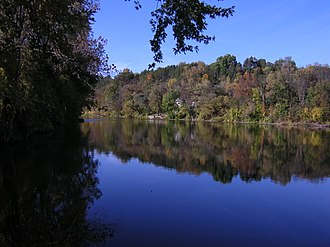 Ada Township, Michigan - The Grand River and hills on the N side of the river