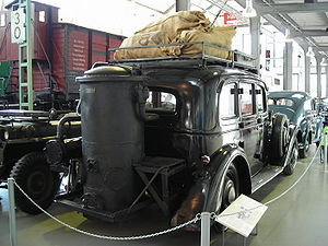 Gasification - Adler Diplomat 3 with gas generator (1941)