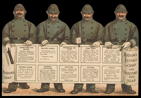 Advertisement for Hudson's Soap with policemen (front). Wellcome L0069078 - Restoration.jpg