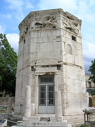 History of timekeeping devices - The Tower of the Winds in Athens, Greece, a 1st-century-BC clocktower from the period of Roman Greece