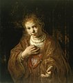 After Rembrandt - Young Girl Holding a Medal, Circa 1650.jpg