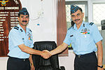 Air Commodore BV Upadhyay greets an unidentified IAF officer.jpg