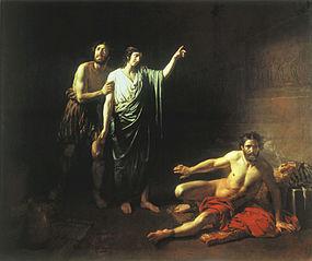 Joseph interprets the butler's and the baker's dreams