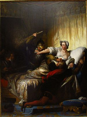 Alexandre-Évariste Fragonard - Scene in the bedroom of Marguerite de Valois during the night of Saint Bartholomew, 1836, Musée du Louvre, Paris