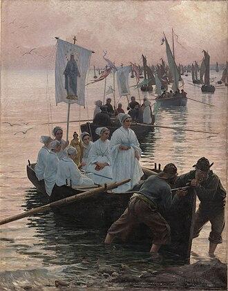 Alfred Guillou - Image: Alfred Guillou Arrivée du pardon de sainte Anne de Fouesnant à Concarneau 1887